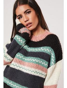 Rose Strip Oversized Chunky Knitted Jumper by Missguided