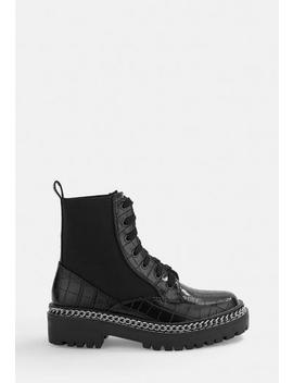 Black Patent Lace Up Chunky Ankle Boots by Missguided