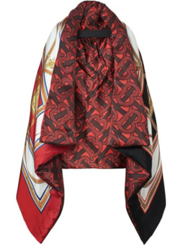 Archive Scarf Print Silk Satin Oversized Puffer Cape by Burberry