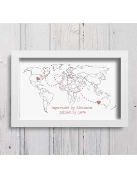 Separated By Distance Joined By Love Print Long Distance Relationship Girlfriend Gift Boyfriend Gift Fiance Gifts Personalized Print by Etsy