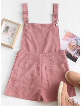 Dual Pockets Corduroy Pinafore Romper   Pink Xl by Zaful