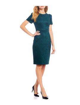 Faux Suede Short Sleeve Sheath Dress by Calvin Klein
