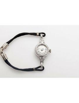 Antique 1930s Art Deco $4000 .75ct Baguette Diamond Platinum Ladies Watch by Unbranded