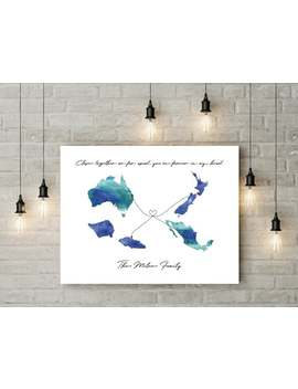 Digital Custom Long Distance (4 State/Countries) Map Print by Etsy