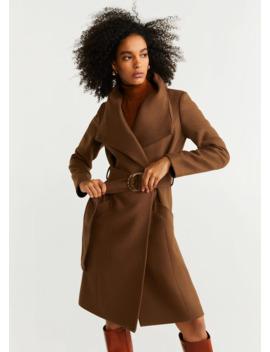 Вълнено палто с колан by Mango