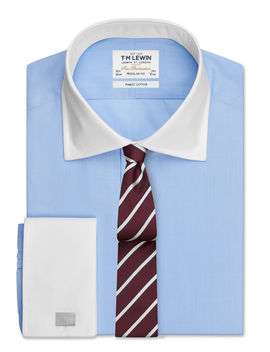End On End Regular Fit Sky Blue Double Cuff Shirt by T.M.Lewin