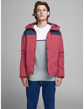 Hooded Winter Light Jacket Textured Knitted Pullover  Hooded Winter Light Jacket  Tim Original Cj 174 Slim Fit Jeans by Jack & Jones