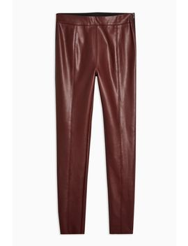 Burgundy Faux Leather Skinny Trousers by Topshop