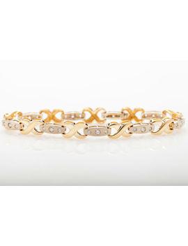 Designer $6000 2ct Diamond 14k Yellow White Gold Kisses Tennis Bracelet Heavy 15 by Ebay Seller