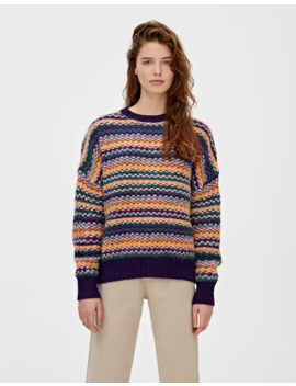 Multicoloured Striped Jacquard Sweater by Pull & Bear