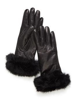 Fur Cuff Leather Gloves by Simons