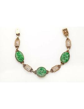 Antique 1920 30ct Genuine Carved Green Jade 14k Yellow Gold Filigree Bracelet by Ebay Seller