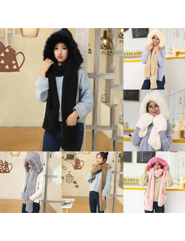 Hot Sale Winter Beanies Winter Hats Ladies Faux Fur Winter Warm Fluffy Hood Scarf Hat Snood Pocket Hats Gloves кепка#111338 by Ali Express.Com