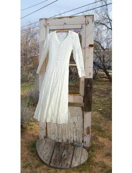Honeysuckle Rose   White Lace Dress   Long Sheer White Dress   Long Sleeve 90s Lace White Dress   Laced Back Dress   Simple Wedding Dress by Etsy