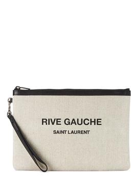 Rive Gauche Cream Canvas Pouch by Saint Laurent