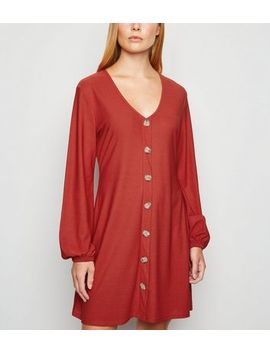 Cameo Rose Rust Button Front Dress by New Look