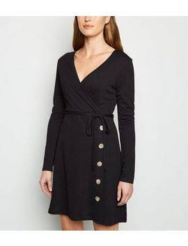 Cameo Rose Black Side Button Wrap Dress by New Look