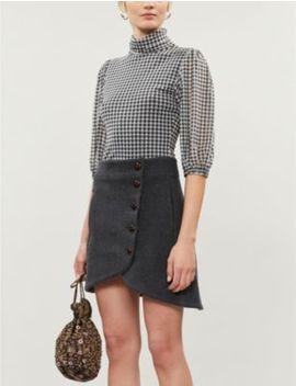 Button Wool Blend Mini Skirt by Ganni