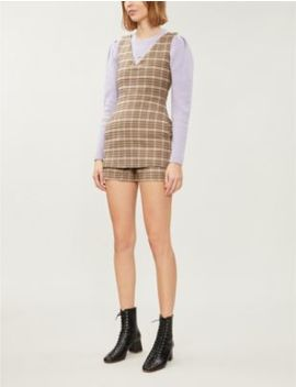 Irilo V Neck Checked Wool Blend Playsuit by Maje