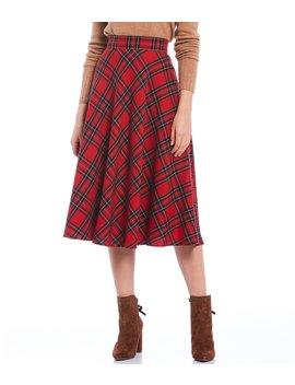 Lesley Jacquard Wool Blend Plaid A Line Midi Skirt by Cremieux