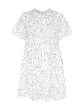 White Polka Dot Roll Sleeve Smock Dress by Prettylittlething