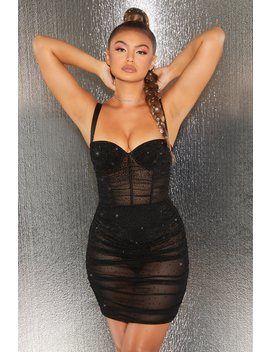 After Hours Sheer Mesh Embellished Mini Dress In Black by Oh Polly