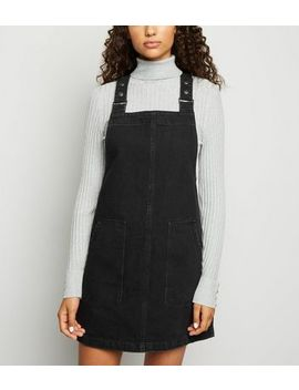 Black Denim Dungaree Pinafore Dress by New Look