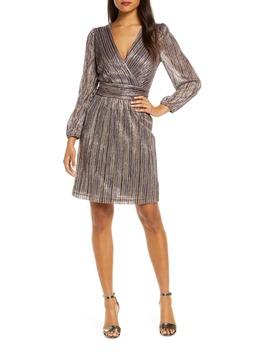 Multicolor Metallic Stripe Long Sleeve Dress by Julia Jordan
