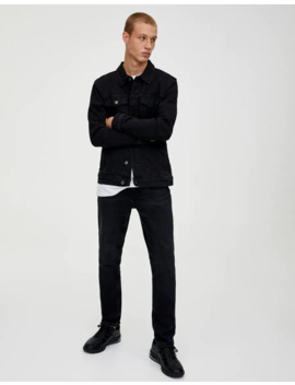 Jeans Slim Confort Negro Lavado by Pull & Bear