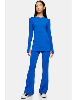 **Cobalt Blue Crew Neck Slit Jumper By Topshop Boutique by Topshop