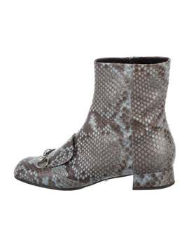 Snakeskin Horsebit Booties by Gucci