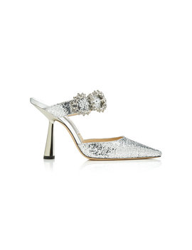 Smokey Crystal Embellished Glittered Leather Mules by Jimmy Choo