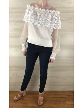 Vintage 80s White Crochet Lace Off Shoulder Sheer Long Sleeve Boho Top S M by Ebay Seller