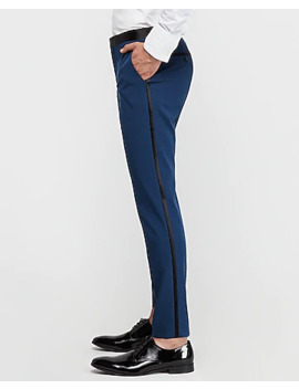 Slim Marine Cotton Blend Satin Stretch Tuxedo Pant by Express