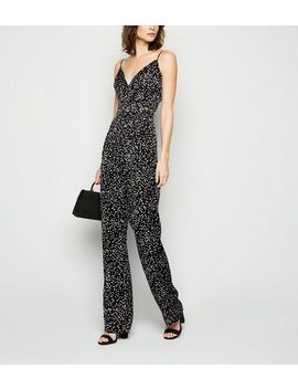 Tall Black Satin Spot Strappy Jumpsuit by New Look