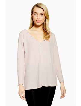 Nude Brushed Waffle Lounge Top by Topshop