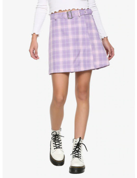 Pastel Purple Pleated &Amp; Belted Skirt by Hot Topic