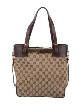 Leather Trimmed Gg Tote by Gucci