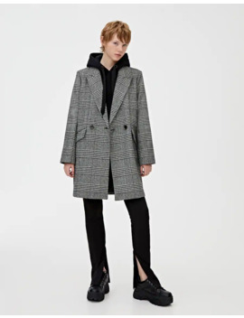Synthetic Wool Check Print Coat by Pull & Bear