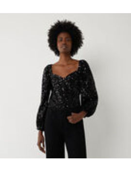 Sequin Balloon Sleeve Top by Warehouse