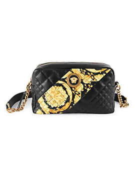 Icon Barocco Stripe Quilted Leather Camera Bag by Versace