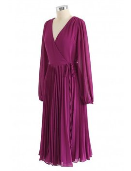 Magenta V Neck Wrap Pleated Chiffon Dress Color Blocked Bowknot Knit Sweater In Black Free Myself Open Front Wool Blend Coat In Wine Bowknot Cut Out Back Long Sleeves Smock Top Golden Spot Jacquard Midi Skirt by Chicwish