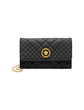 Icon Quilted Leather Clutch by Versace