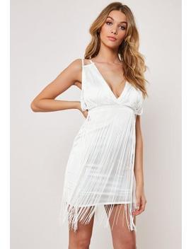 White Satin Plunge Tassel Bodycon Mini Dress by Missguided