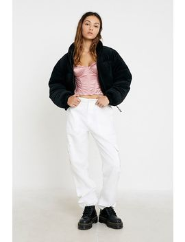 Uo Velvet Cropped Puffer Jacket by Urban Outfitters