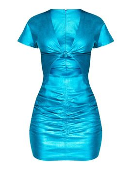 Blue Metallic Cut Out Ruched Bodycon Dress by Prettylittlething