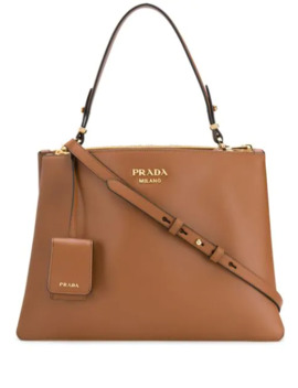 Top Handle Leather Tote by Prada