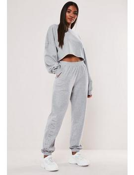 Grey Essential Embroidered Joggers by Missguided