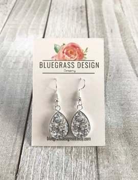 Teardrop Druzy Dangle Earrings / Bridesmaid Jewelry / Wedding Jewelry / Bridesmaid Gift by Etsy