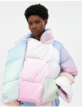 Star Puffer Jacket In Multi Color Print by Saks Potts Saks Potts